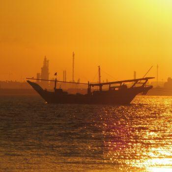 Sunset in Al Dar Islands in Bahrain, lost boat recovered